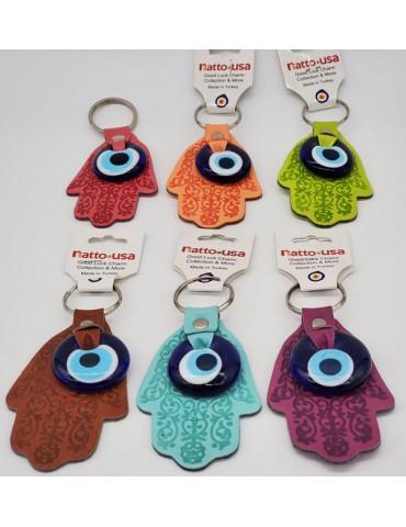 Lucky Eye Hamza Leather Keychain