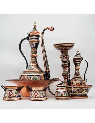 HandMade/Carved Painted Copper Sets