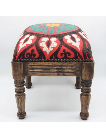 Red Suzani Footstool